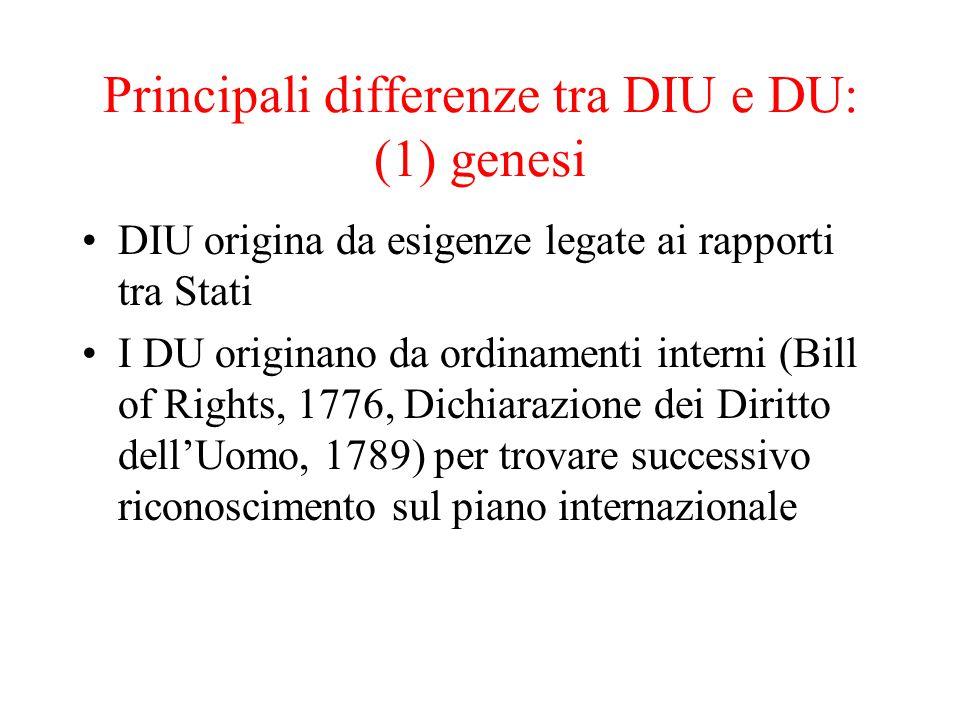 Principali differenze tra DIU e DU: (1) genesi