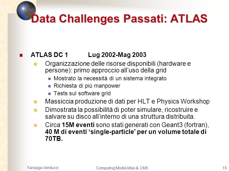 Data Challenges Passati: ATLAS