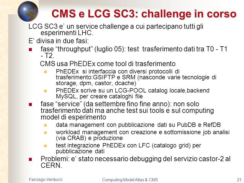CMS e LCG SC3: challenge in corso