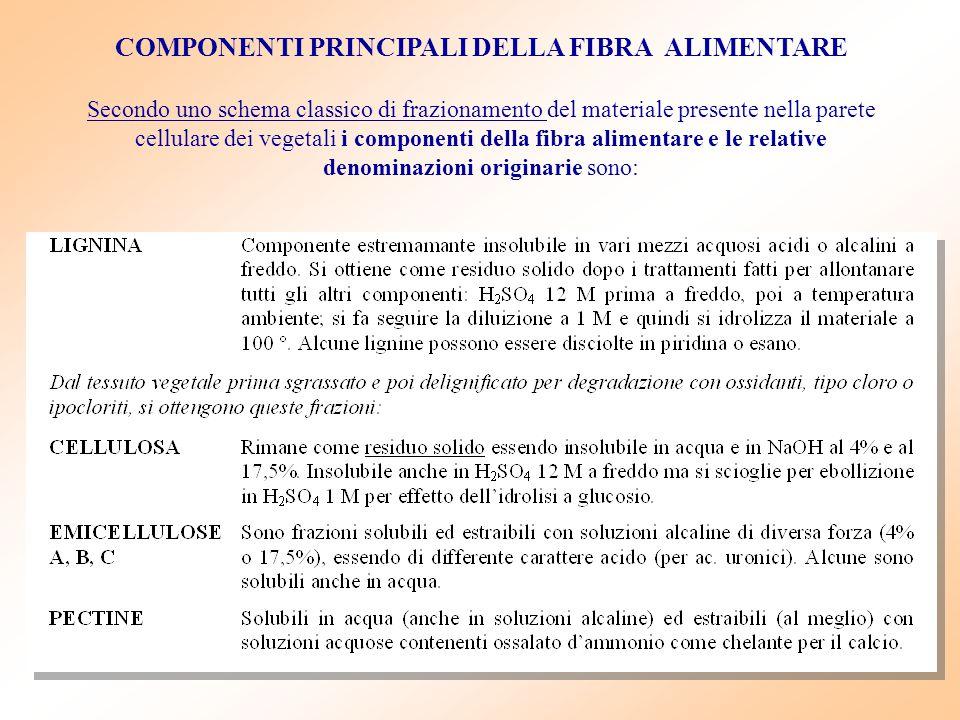 COMPONENTI PRINCIPALI DELLA FIBRA ALIMENTARE