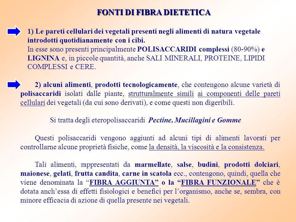 FONTI DI FIBRA DIETETICA