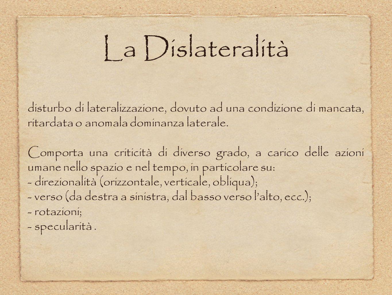 La Dislateralità disturbo di lateralizzazione, dovuto ad una condizione di mancata, ritardata o anomala dominanza laterale.