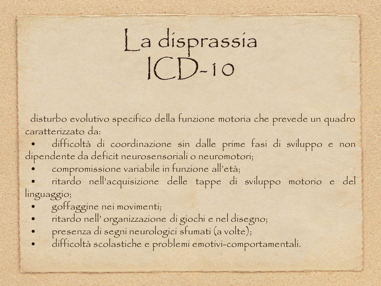 La disprassia ICD-10 disturbo evolutivo specifico della funzione motoria che prevede un quadro caratterizzato da: