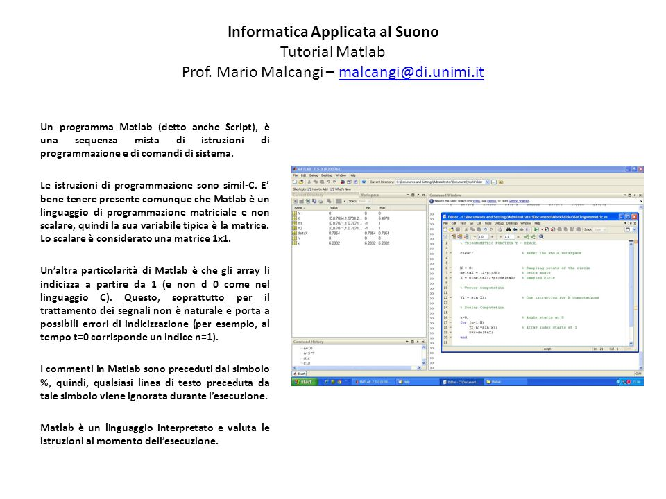 Informatica Applicata al Suono Tutorial Matlab Prof