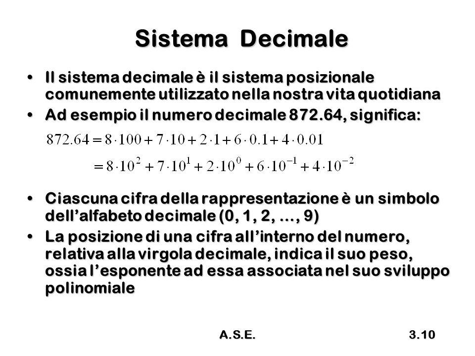 Sistema Decimale Il sistema decimale è il sistema posizionale comunemente utilizzato nella nostra vita quotidiana.