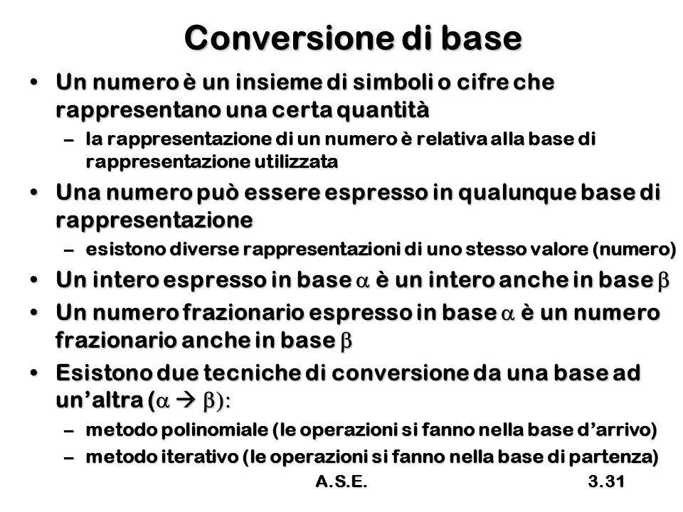 Conversione di base Un numero è un insieme di simboli o cifre che rappresentano una certa quantità.