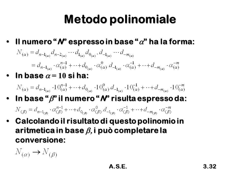 Metodo polinomiale Il numero N espresso in base a ha la forma: