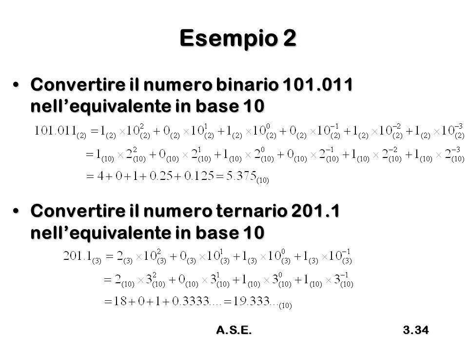 Esempio 2 Convertire il numero binario 101.011 nell'equivalente in base 10. Convertire il numero ternario 201.1 nell'equivalente in base 10.