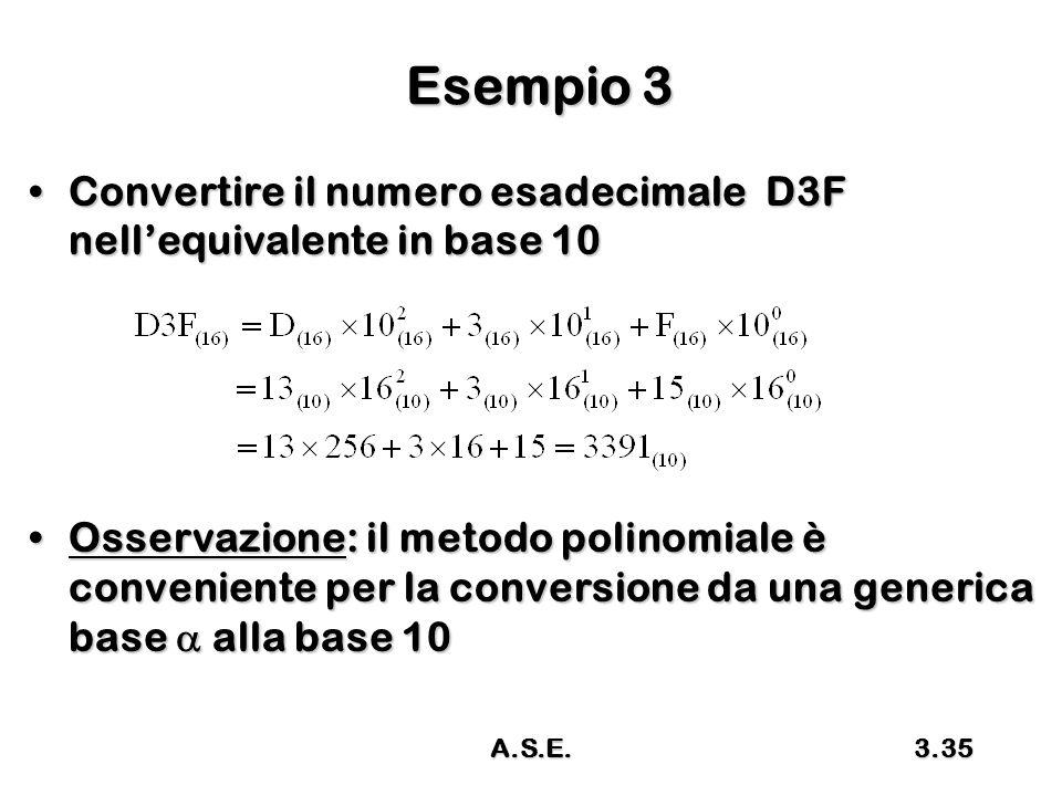 Esempio 3 Convertire il numero esadecimale D3F nell'equivalente in base 10.