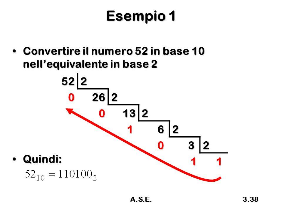 Esempio 1 Convertire il numero 52 in base 10 nell'equivalente in base 2. Quindi: 52. 2. 26. 13.