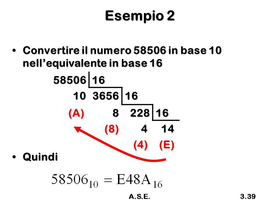 Esempio 2 Convertire il numero 58506 in base 10 nell'equivalente in base 16. Quindi. 58506. 16. 10.
