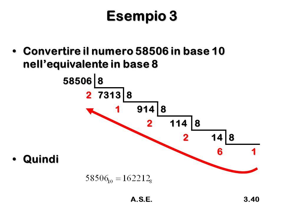 Esempio 3 Convertire il numero 58506 in base 10 nell'equivalente in base 8. Quindi. 58506. 8. 2.