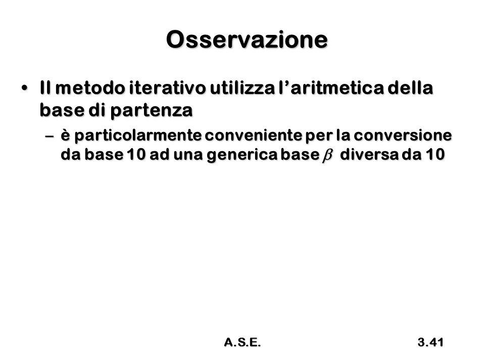 Osservazione Il metodo iterativo utilizza l'aritmetica della base di partenza.