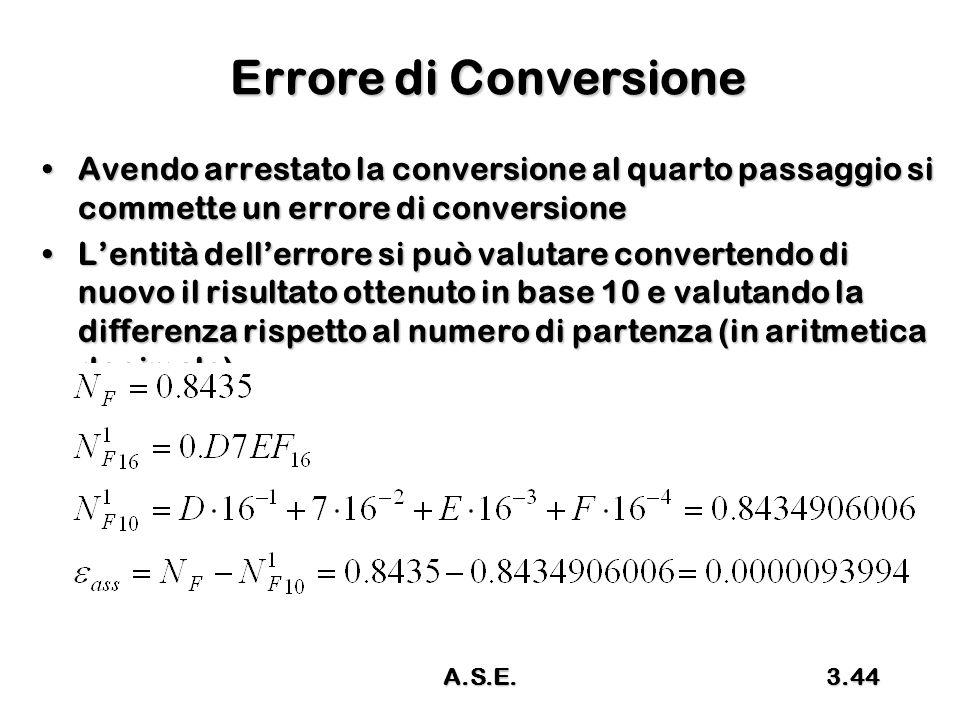 Errore di Conversione Avendo arrestato la conversione al quarto passaggio si commette un errore di conversione.