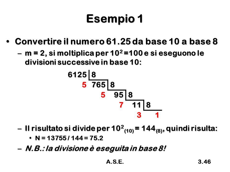 Esempio 1 Convertire il numero 61.25 da base 10 a base 8