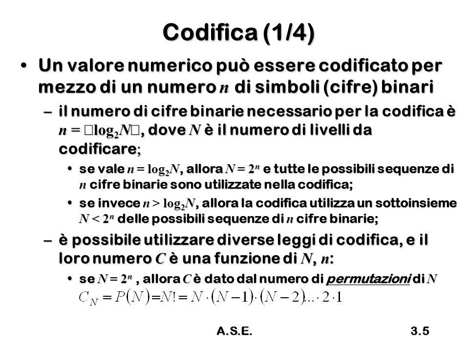 Codifica (1/4) Un valore numerico può essere codificato per mezzo di un numero n di simboli (cifre) binari.
