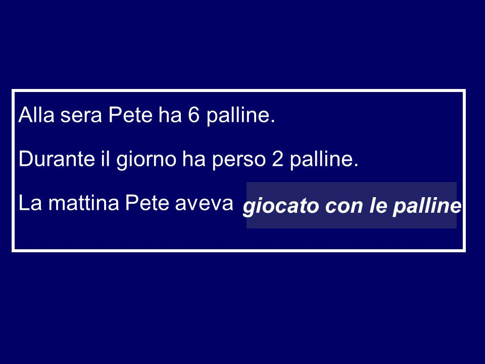 Alla sera Pete ha 6 palline.