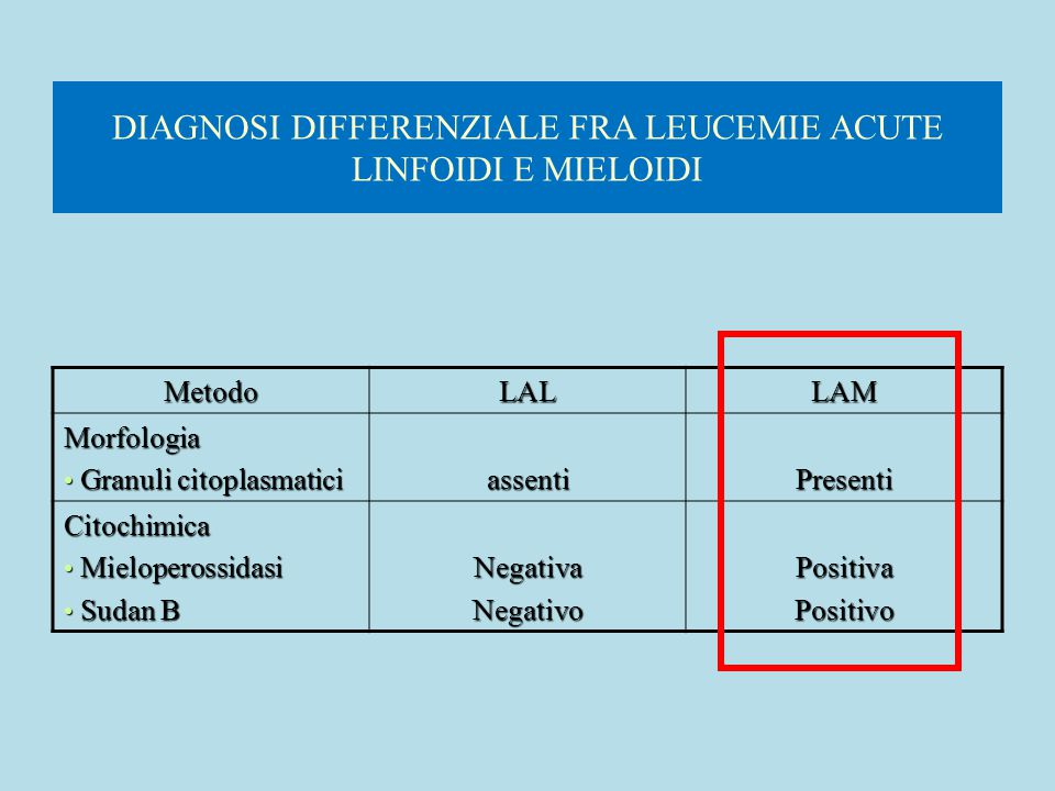 DIAGNOSI DIFFERENZIALE FRA LEUCEMIE ACUTE LINFOIDI E MIELOIDI