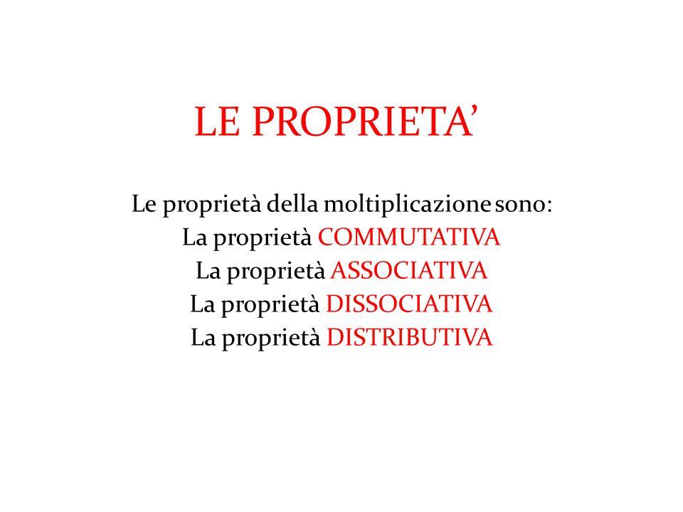 LE PROPRIETA' Le proprietà della moltiplicazione sono: