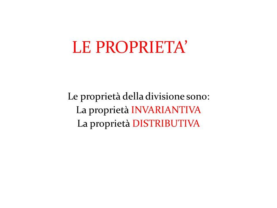 LE PROPRIETA' Le proprietà della divisione sono: