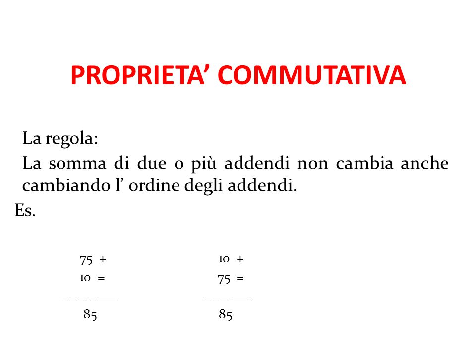 PROPRIETA' COMMUTATIVA