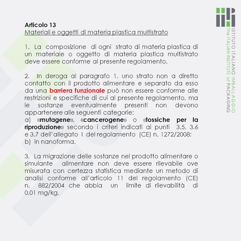 Articolo 13 Materiali e oggetti di materia plastica multistrato.