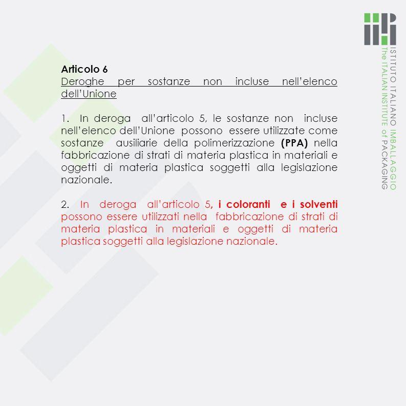 Articolo 6 Deroghe per sostanze non incluse nell'elenco dell'Unione.