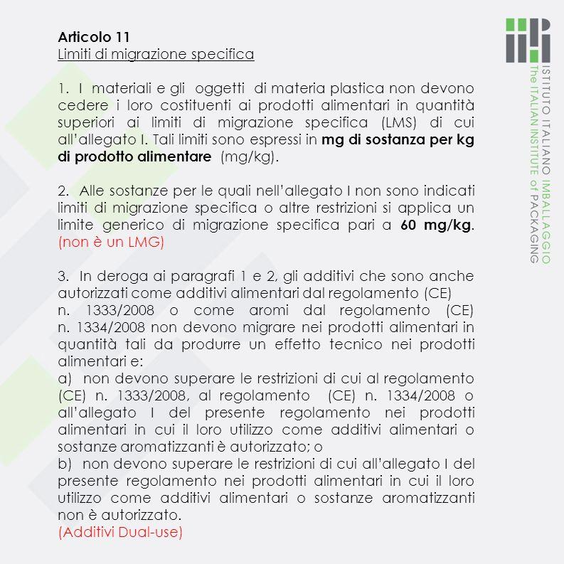 Articolo 11 Limiti di migrazione specifica.