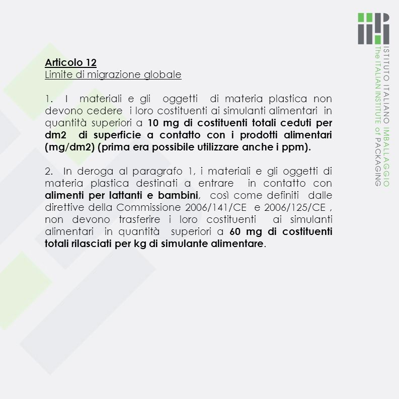 Articolo 12 Limite di migrazione globale.