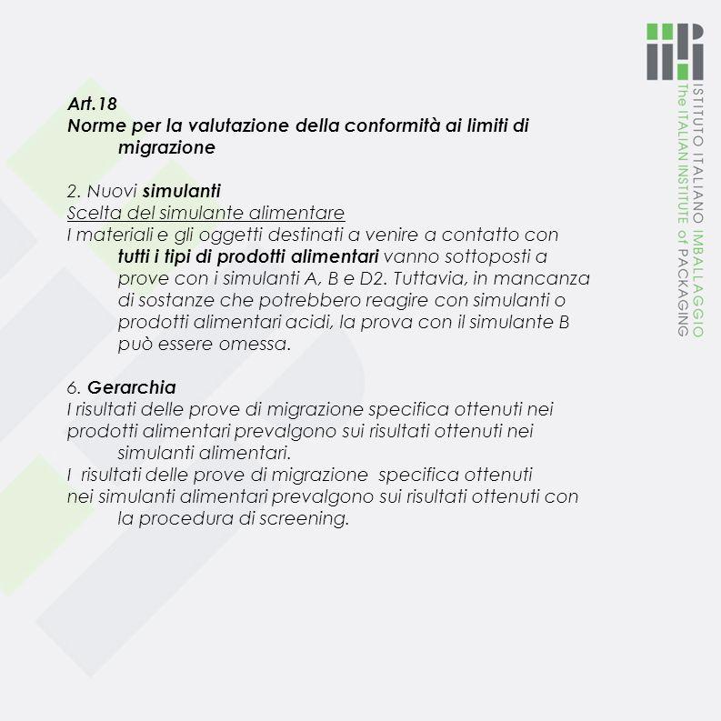 Art.18 Norme per la valutazione della conformità ai limiti di migrazione. 2. Nuovi simulanti. Scelta del simulante alimentare.