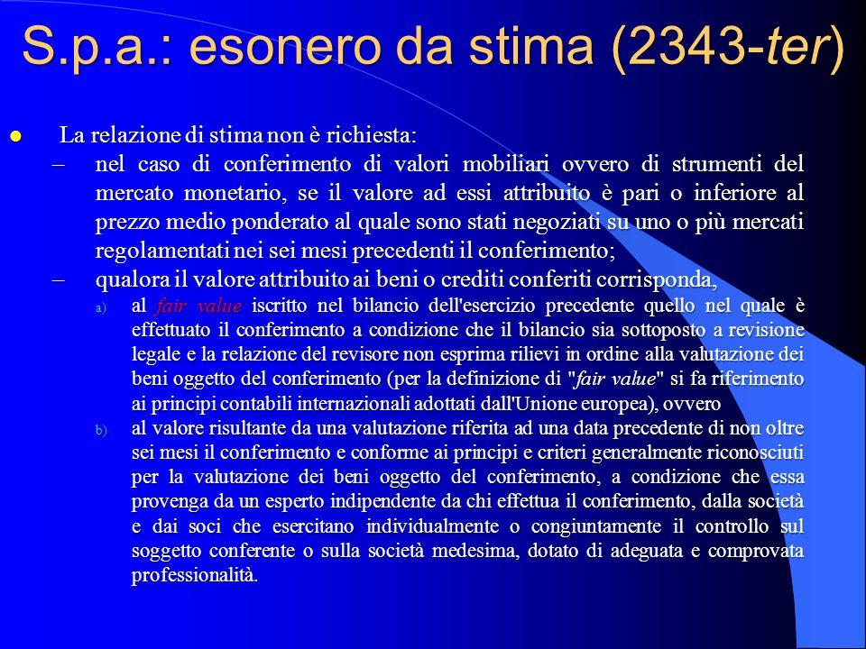 S.p.a.: esonero da stima (2343-ter)