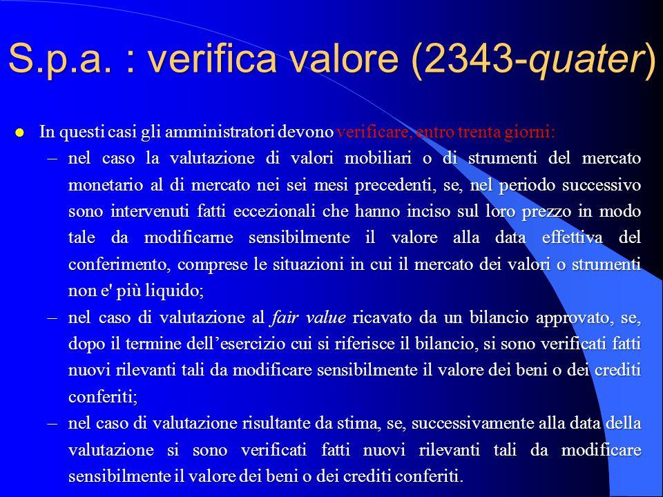 S.p.a. : verifica valore (2343-quater)