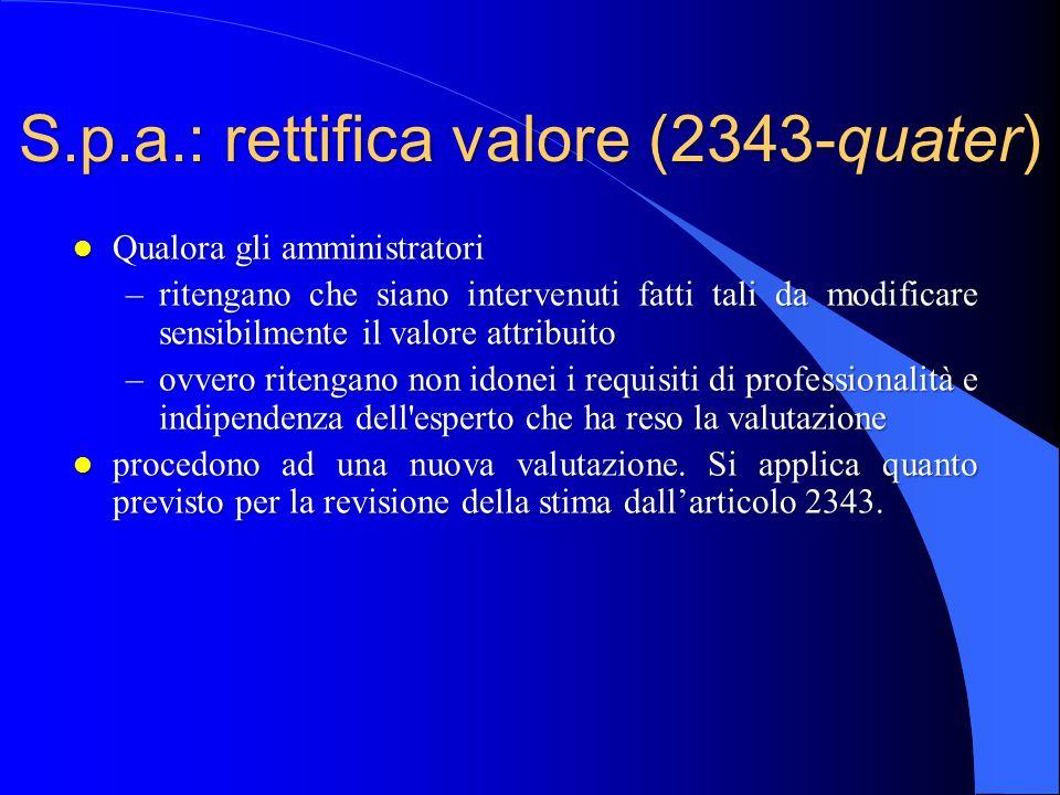 S.p.a.: rettifica valore (2343-quater)