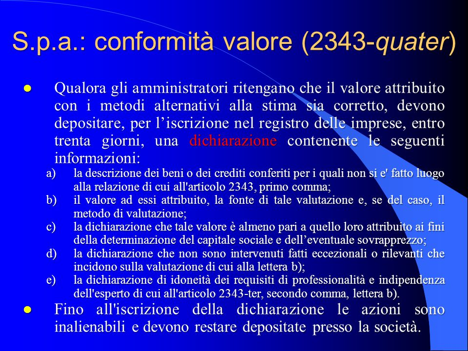 S.p.a.: conformità valore (2343-quater)