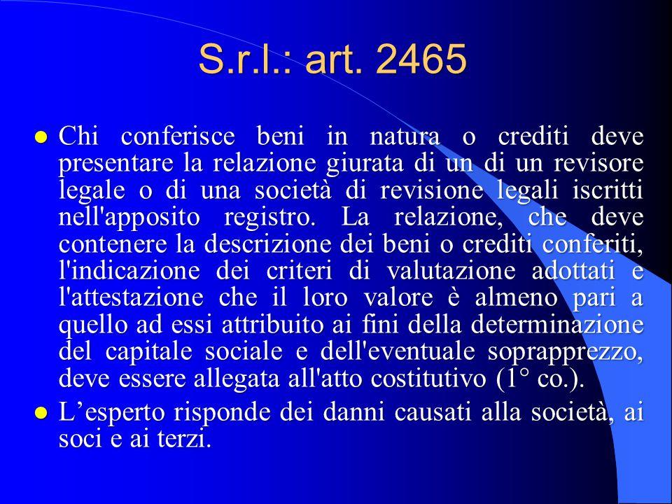 S.r.l.: art. 2465