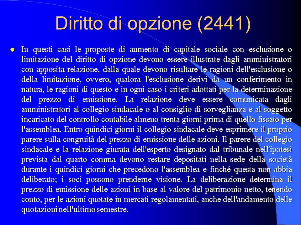 Diritto di opzione (2441)