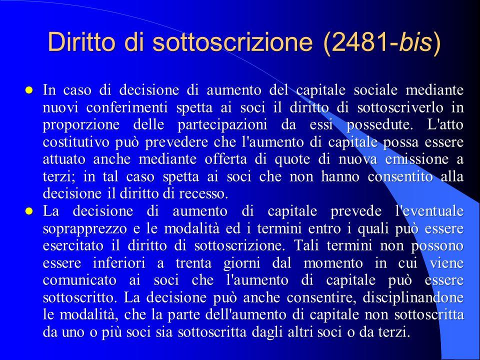 Diritto di sottoscrizione (2481-bis)