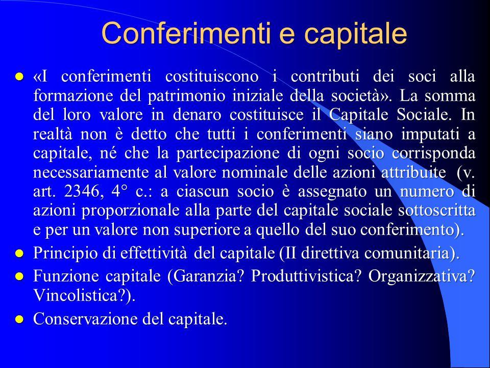 Conferimenti e capitale