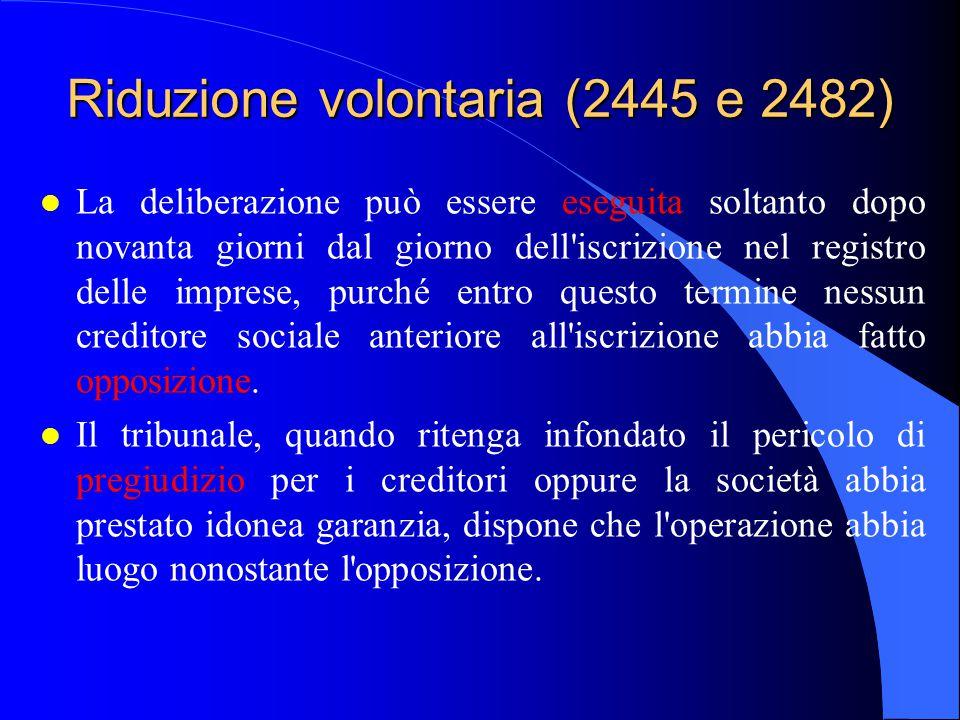 Riduzione volontaria (2445 e 2482)