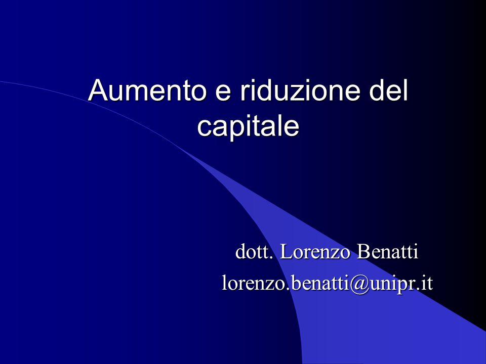 Aumento e riduzione del capitale