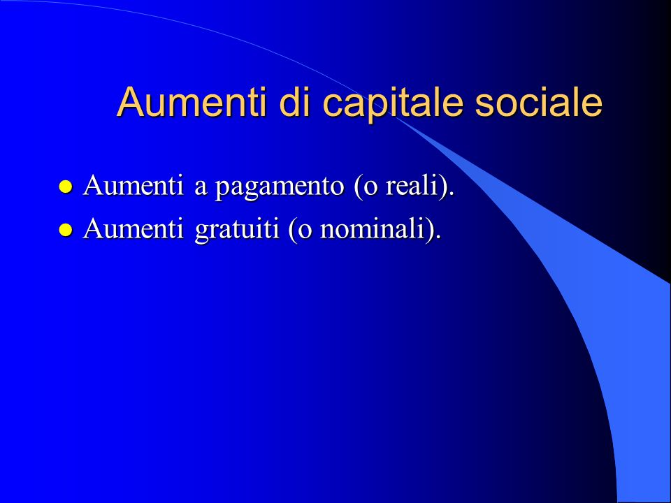 Aumenti di capitale sociale
