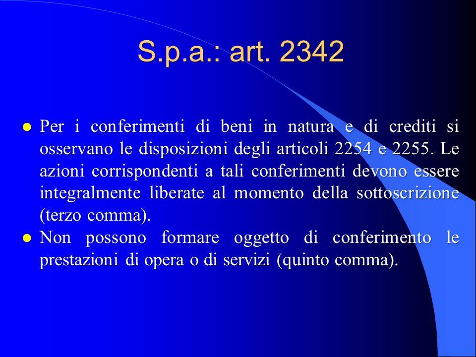 S.p.a.: art. 2342