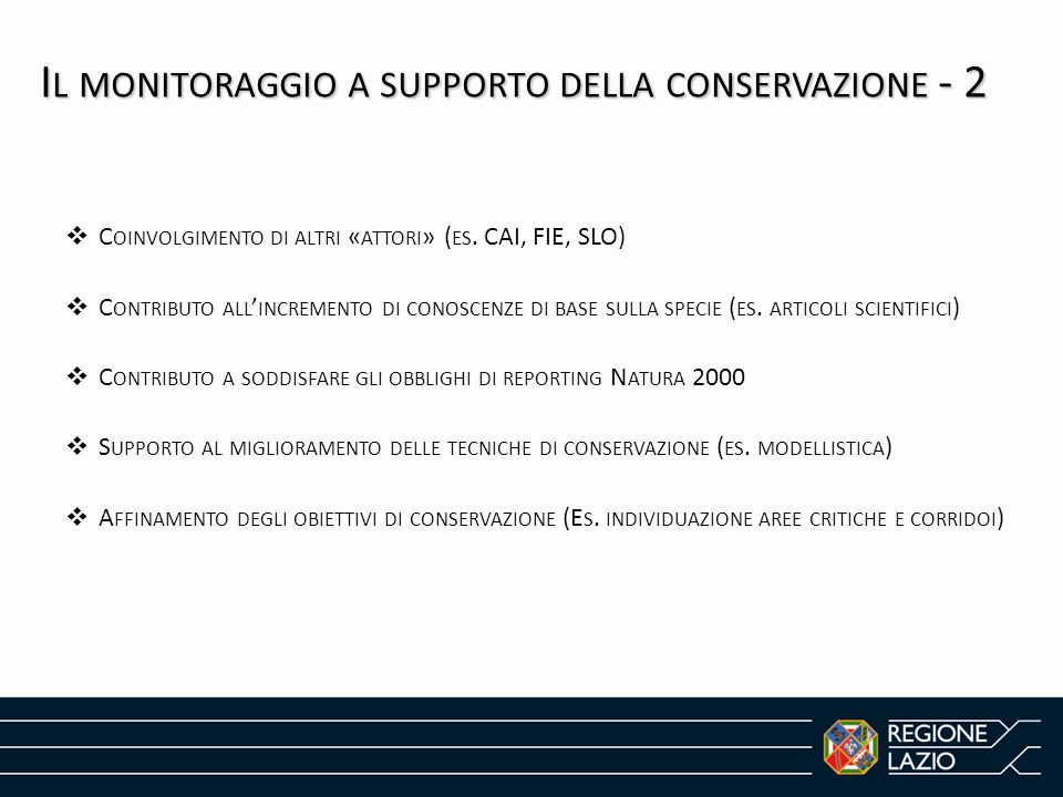 Il monitoraggio a supporto della conservazione - 2