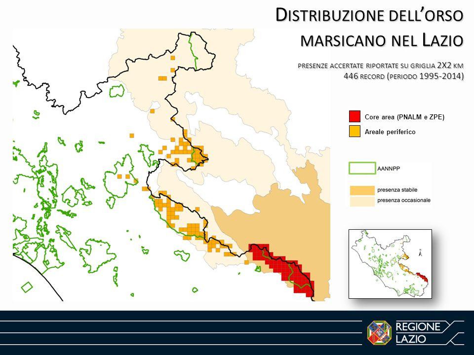 Distribuzione dell'orso marsicano nel Lazio