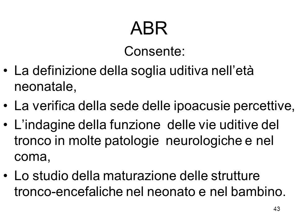 ABR Consente: La definizione della soglia uditiva nell'età neonatale,