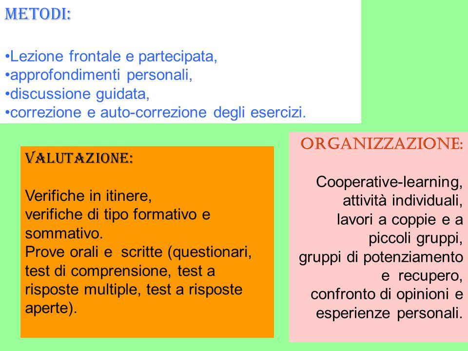 Metodi: Lezione frontale e partecipata, approfondimenti personali,