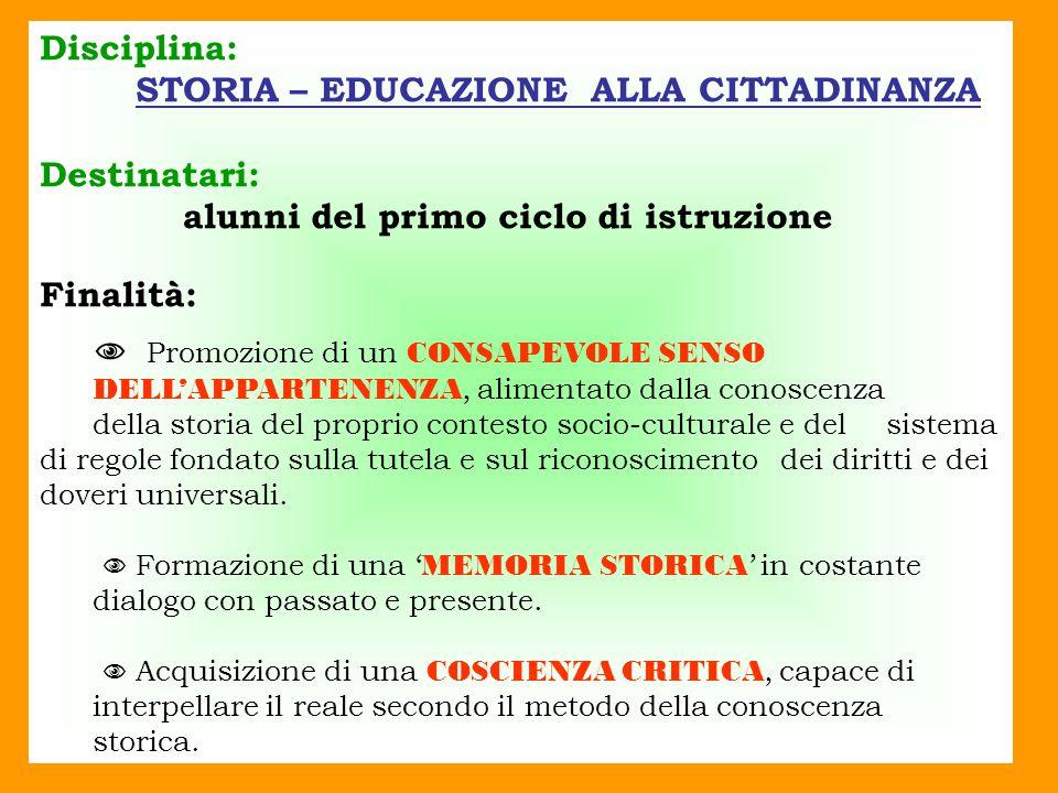 STORIA – EDUCAZIONE ALLA CITTADINANZA Destinatari: