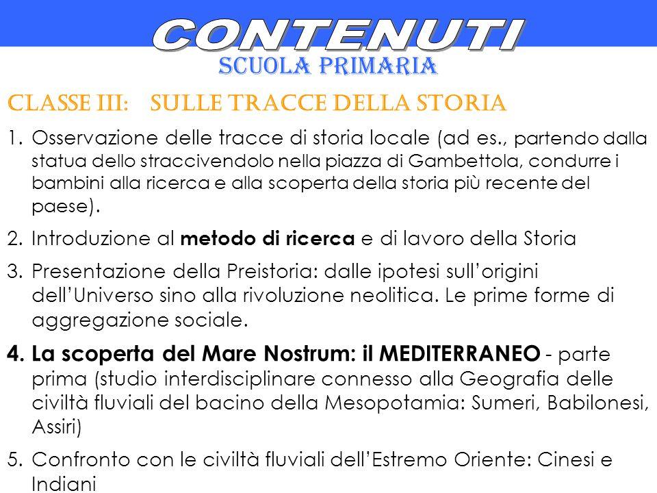 CONTENUTI SCUOLA PRIMARIA CLASSE III: SULLE TRACCE DELLA STORIA
