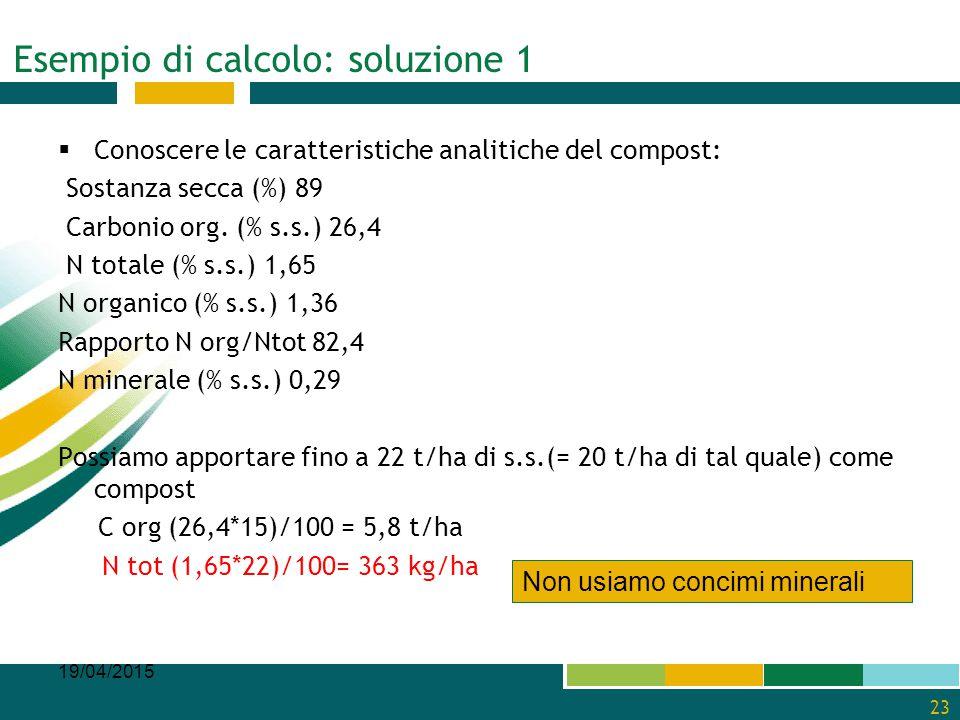 Esempio di calcolo: soluzione 1