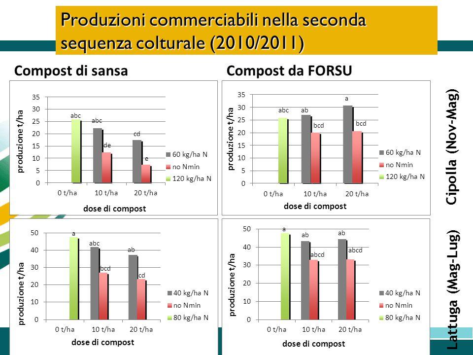Produzioni commerciabili nella seconda sequenza colturale (2010/2011)